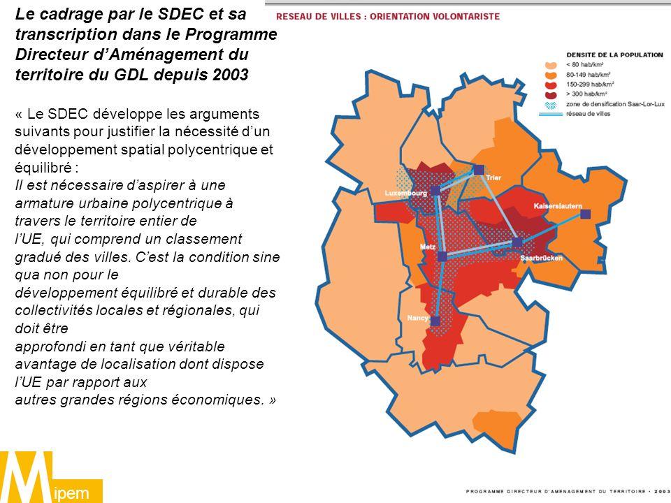 Le cadrage par le SDEC et sa transcription dans le Programme Directeur d'Aménagement du territoire du GDL depuis 2003