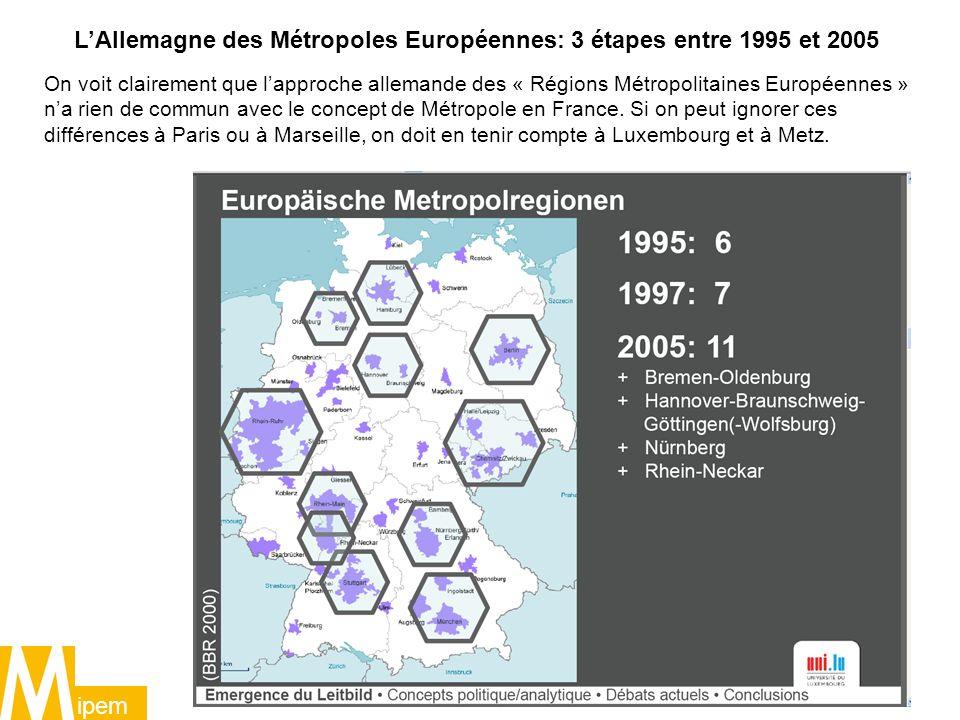 L'Allemagne des Métropoles Européennes: 3 étapes entre 1995 et 2005