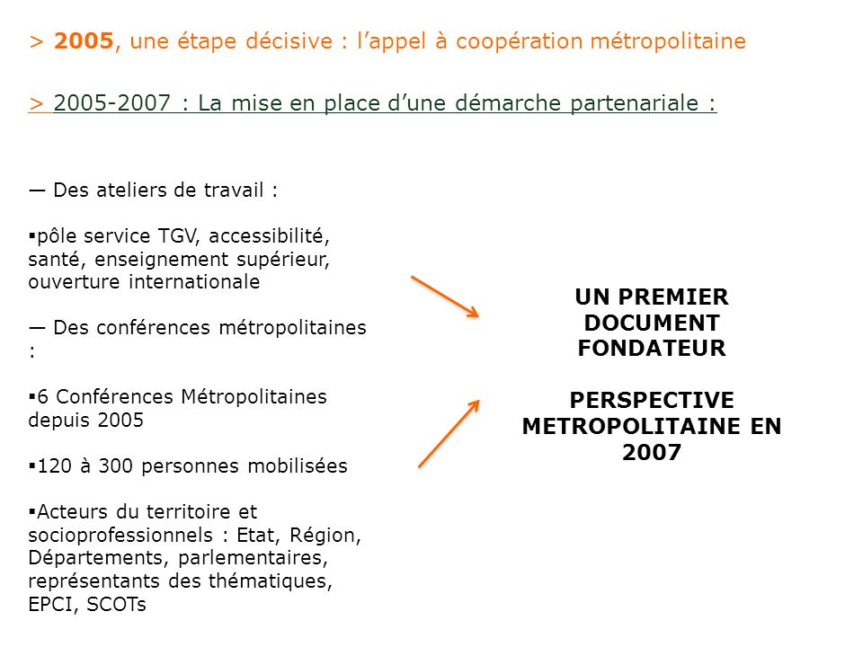 UN PREMIER DOCUMENT FONDATEUR PERSPECTIVE METROPOLITAINE EN 2007