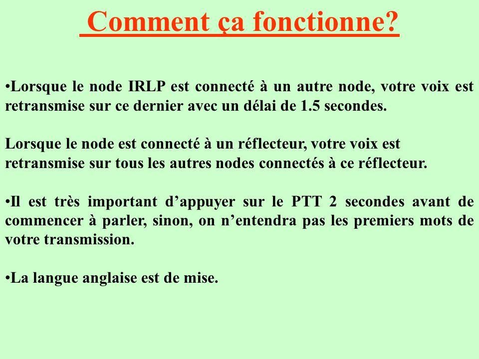 Comment ça fonctionne Lorsque le node IRLP est connecté à un autre node, votre voix est retransmise sur ce dernier avec un délai de 1.5 secondes.