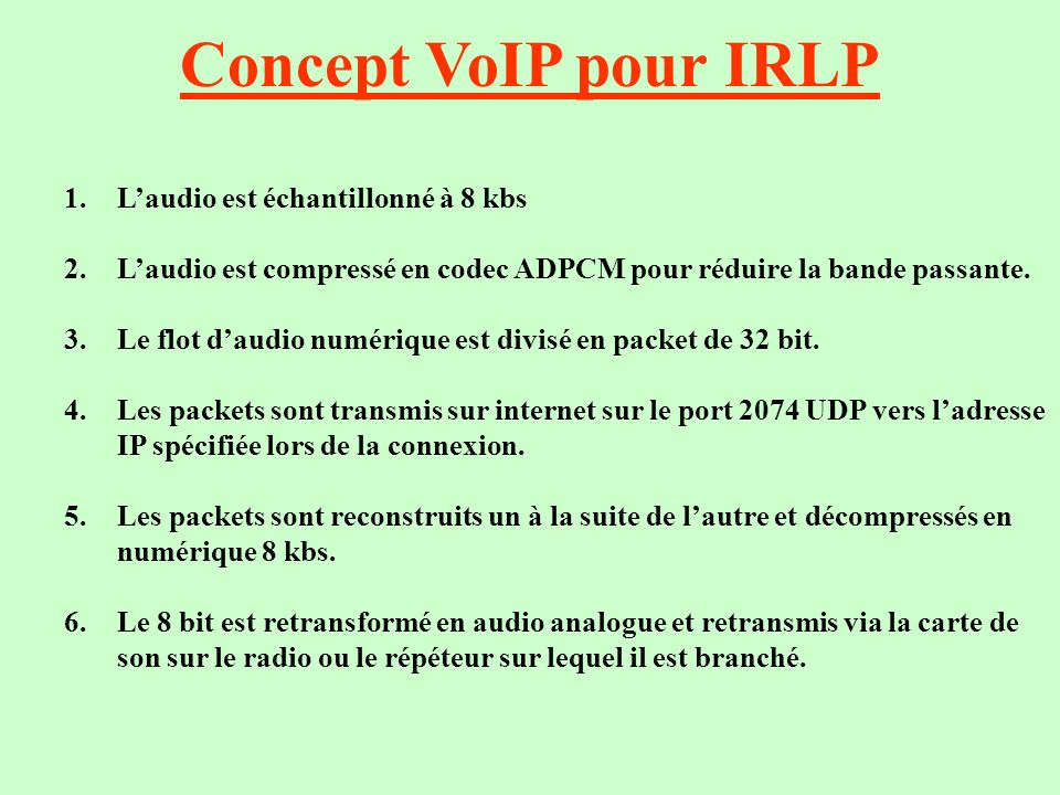 Concept VoIP pour IRLP L'audio est échantillonné à 8 kbs