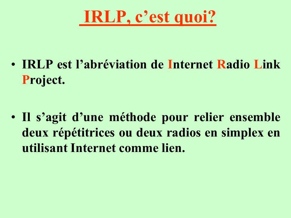 IRLP, c'est quoi IRLP est l'abréviation de Internet Radio Link Project.