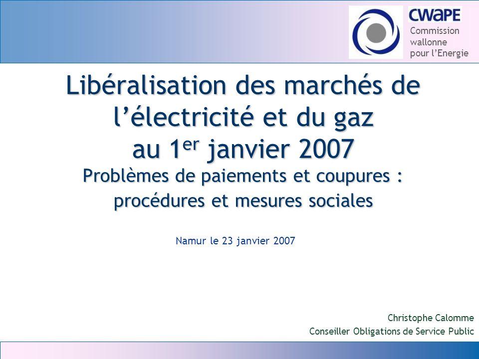 Libéralisation des marchés de l'électricité et du gaz au 1er janvier 2007 Problèmes de paiements et coupures : procédures et mesures sociales