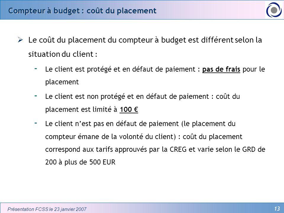 Compteur à budget : coût du placement