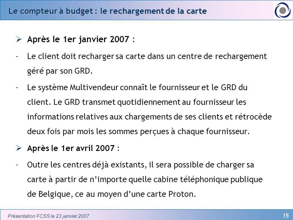 Le compteur à budget : le rechargement de la carte