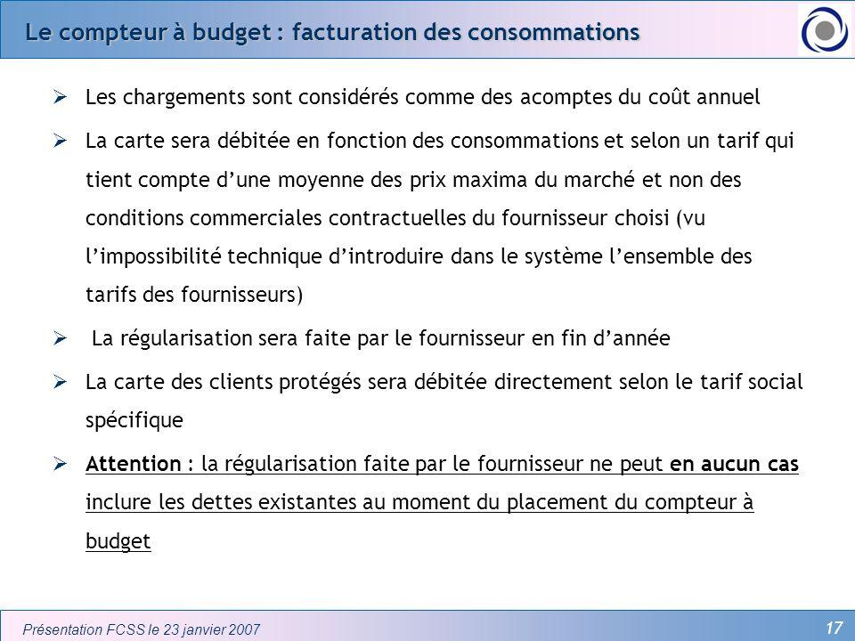 Le compteur à budget : facturation des consommations