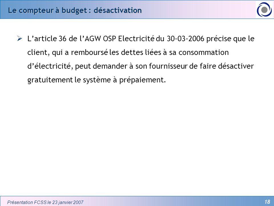 Le compteur à budget : désactivation