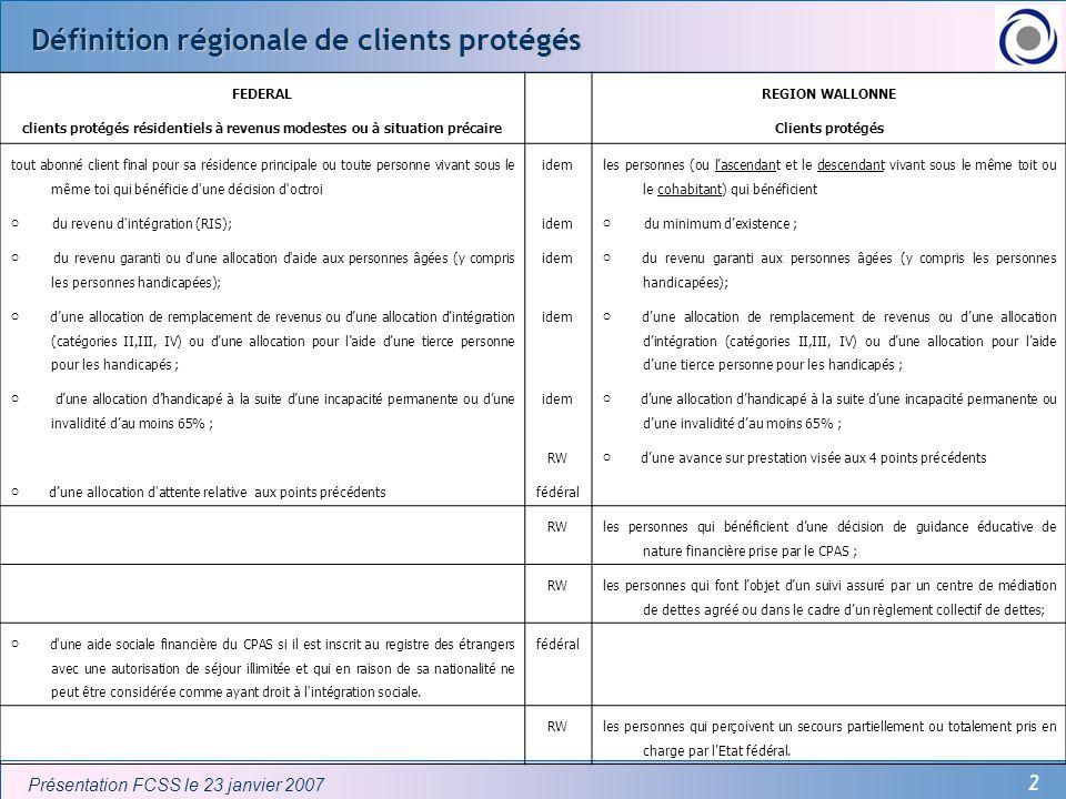 Définition régionale de clients protégés