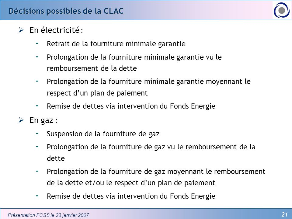 Décisions possibles de la CLAC