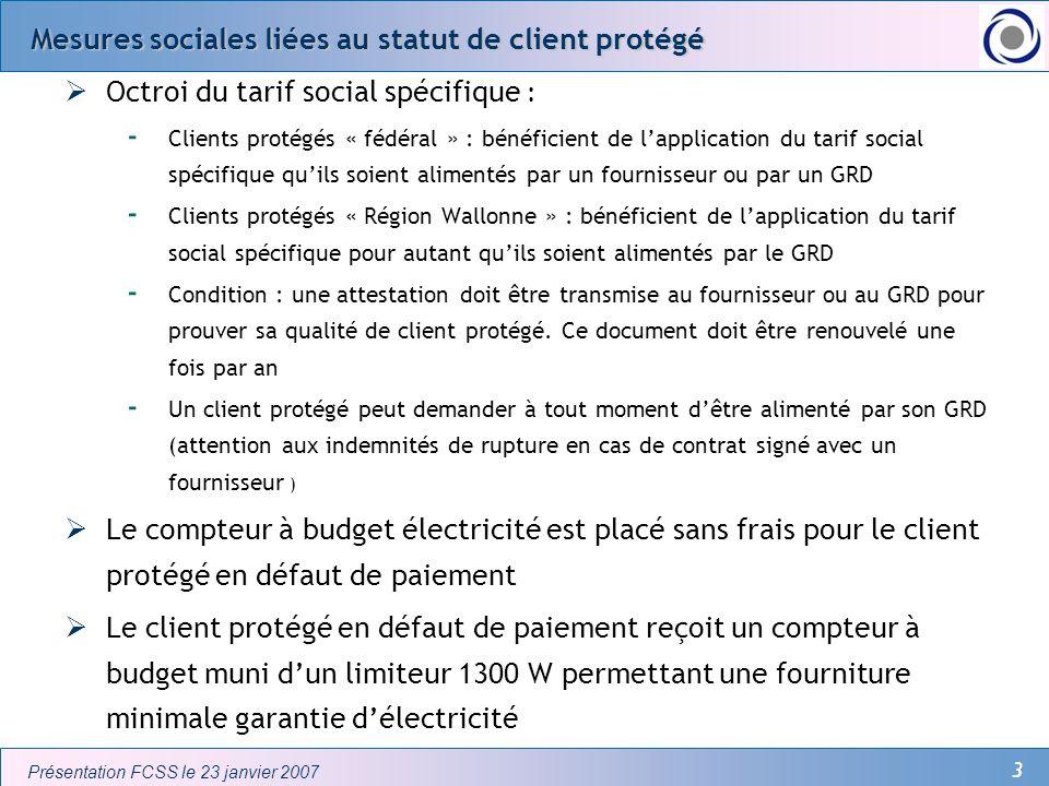 Mesures sociales liées au statut de client protégé