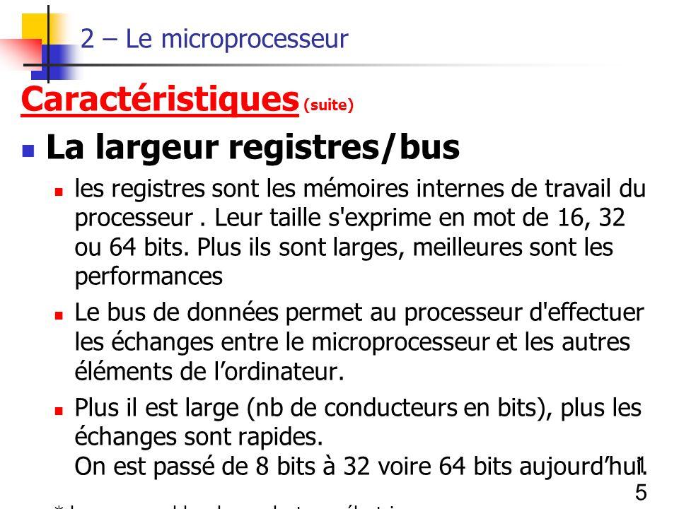 Caractéristiques (suite) La largeur registres/bus