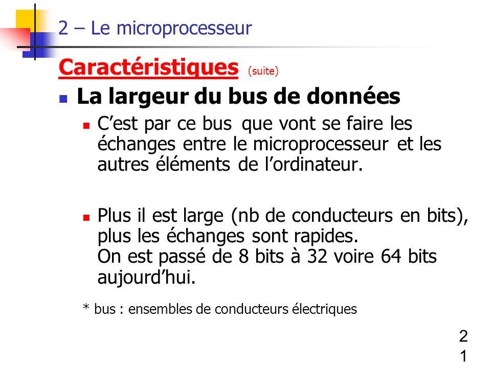 Caractéristiques (suite) La largeur du bus de données