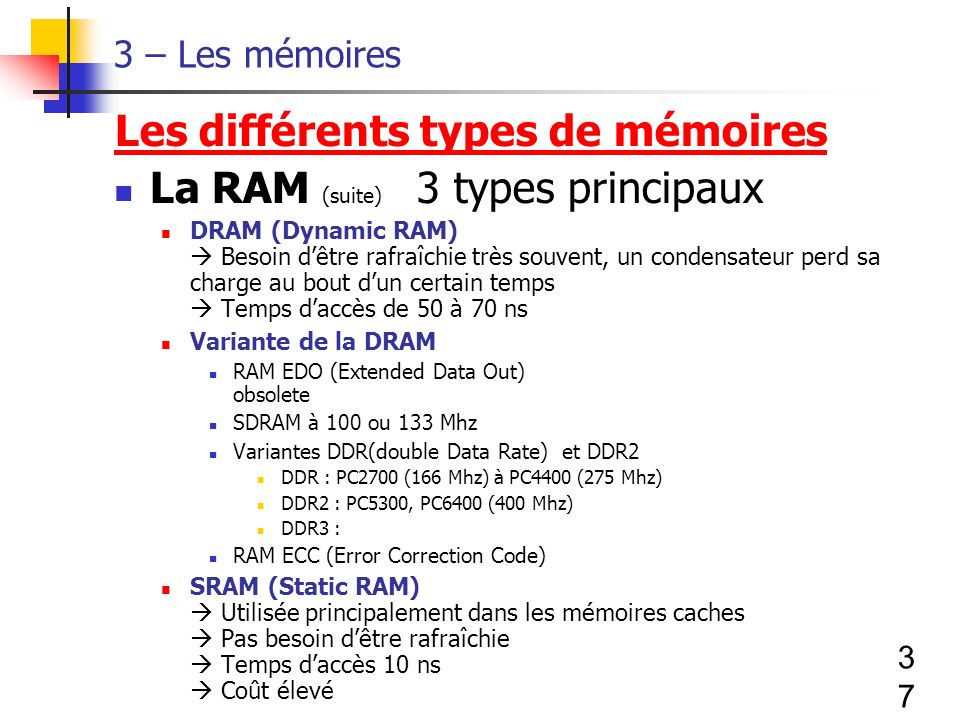 Les différents types de mémoires La RAM (suite) 3 types principaux