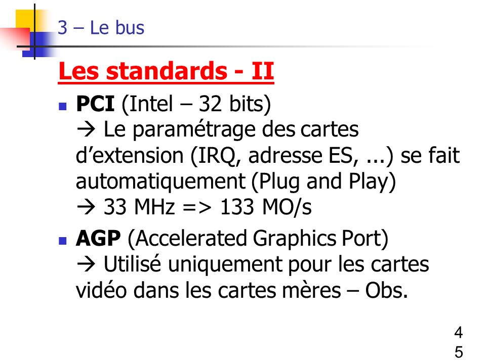 3 – Le bus Les standards - II.
