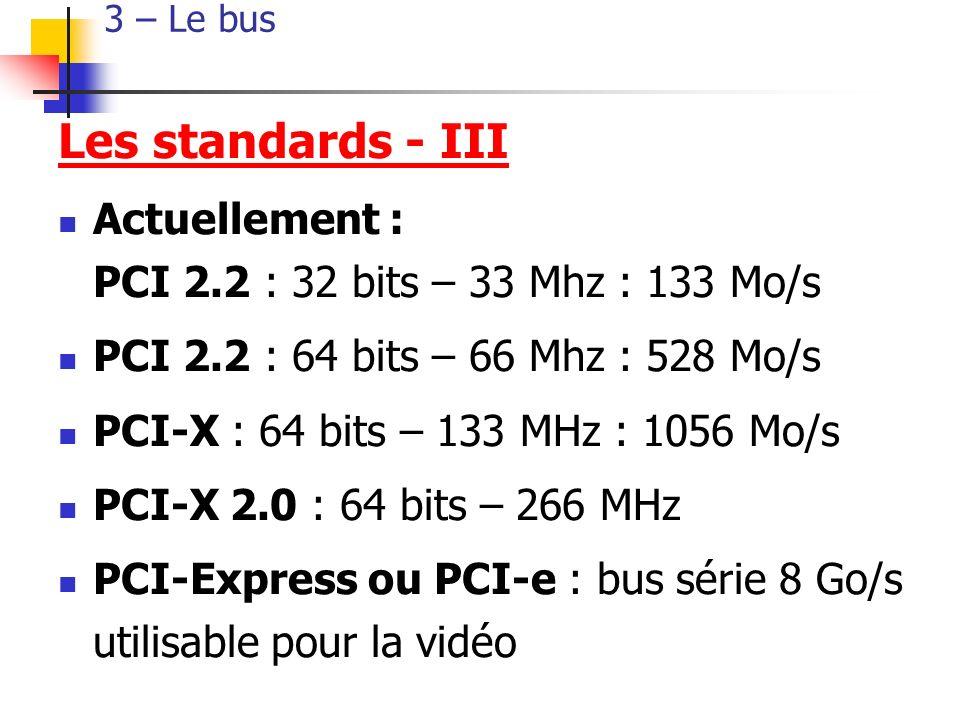 3 – Le bus Les standards - III. Actuellement : PCI 2.2 : 32 bits – 33 Mhz : 133 Mo/s. PCI 2.2 : 64 bits – 66 Mhz : 528 Mo/s.