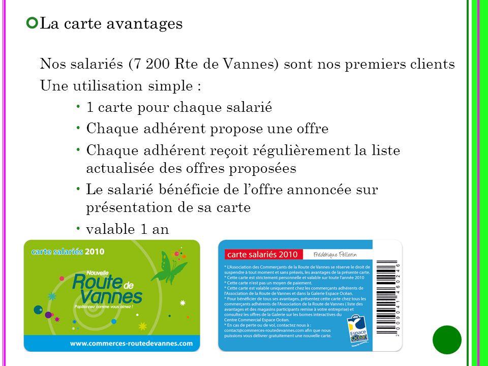 La carte avantages Nos salariés (7 200 Rte de Vannes) sont nos premiers clients. Une utilisation simple :