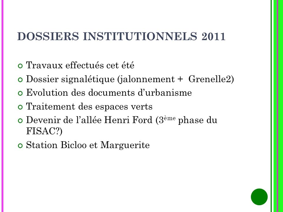 DOSSIERS INSTITUTIONNELS 2011