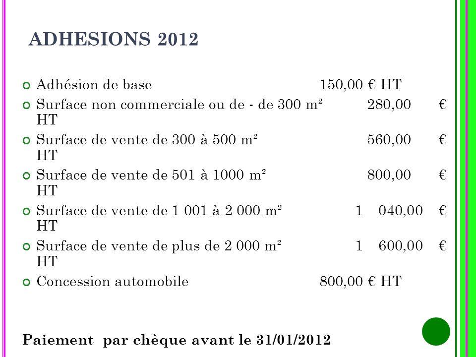 ADHESIONS 2012 Adhésion de base 150,00 € HT