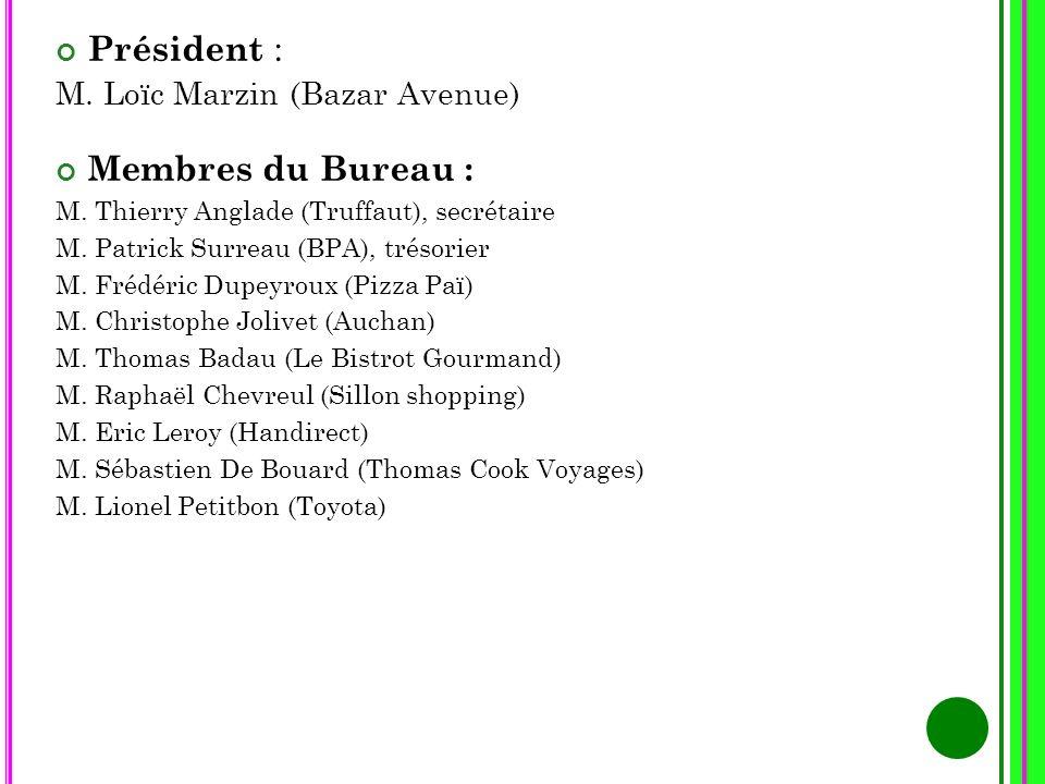 Président : Membres du Bureau : M. Loïc Marzin (Bazar Avenue)