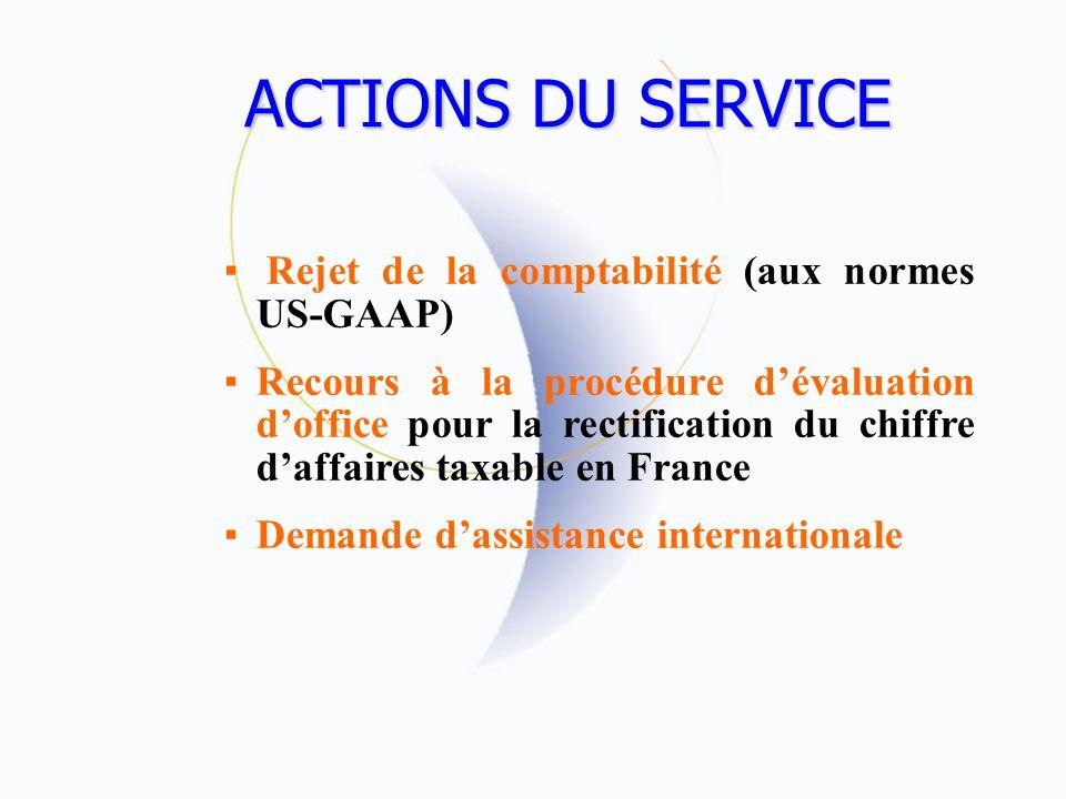 ACTIONS DU SERVICE Rejet de la comptabilité (aux normes US-GAAP)