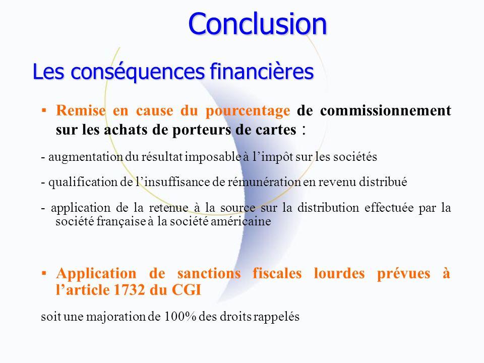 Conclusion Les conséquences financières