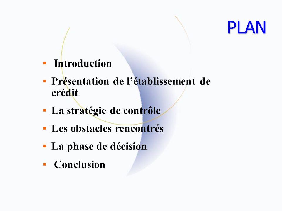 PLAN Introduction Présentation de l'établissement de crédit