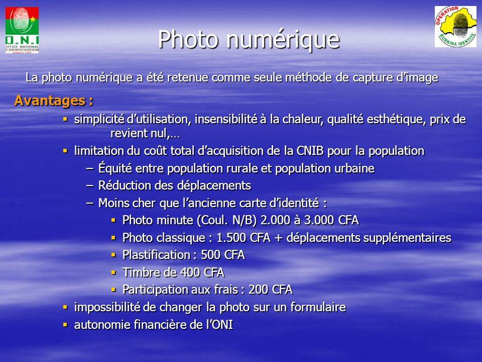 Photo numérique Avantages :