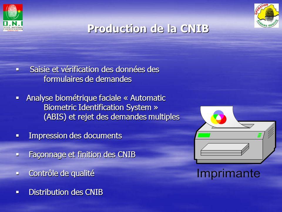Production de la CNIB Saisie et vérification des données des formulaires de demandes.