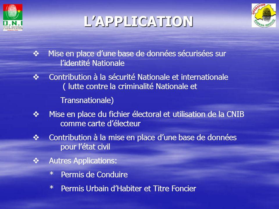 L'APPLICATION Mise en place d'une base de données sécurisées sur l'identité Nationale.