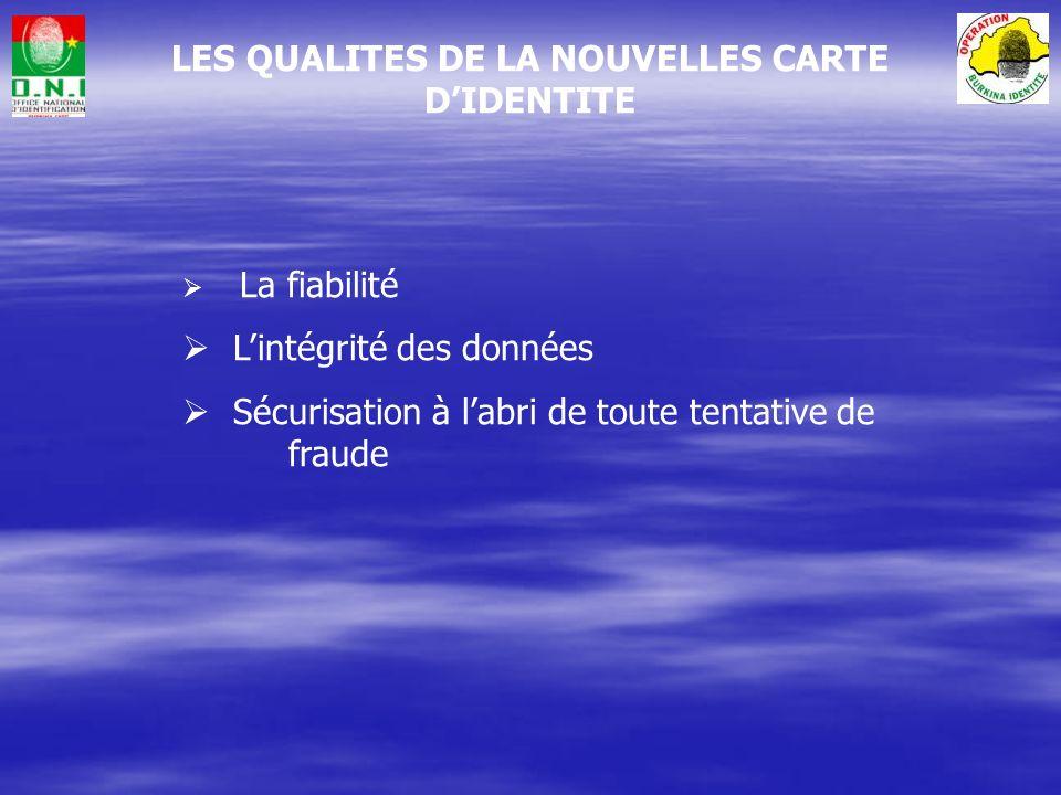 LES QUALITES DE LA NOUVELLES CARTE D'IDENTITE