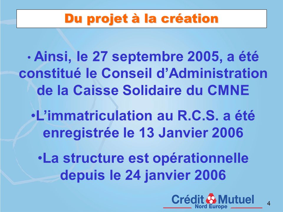 L'immatriculation au R.C.S. a été enregistrée le 13 Janvier 2006