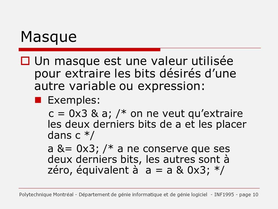 Masque Un masque est une valeur utilisée pour extraire les bits désirés d'une autre variable ou expression: