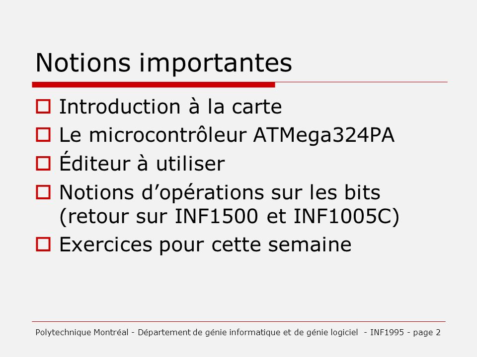 Notions importantes Introduction à la carte