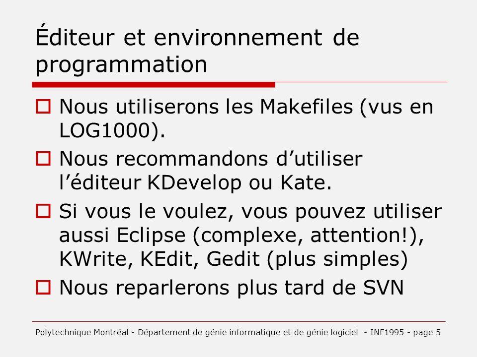 Éditeur et environnement de programmation