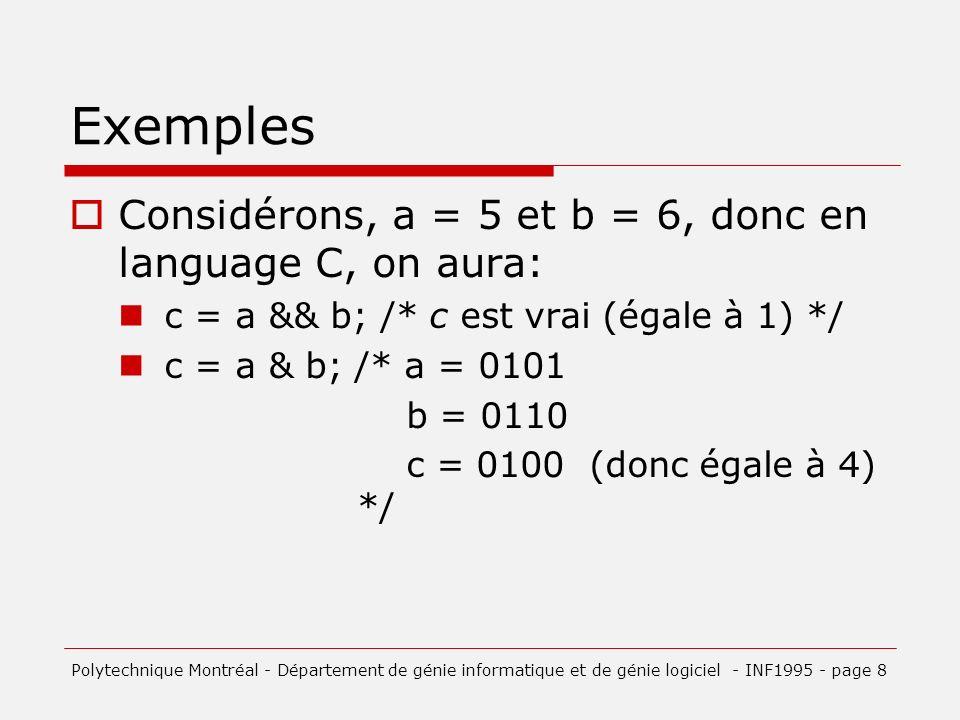 Exemples Considérons, a = 5 et b = 6, donc en language C, on aura: