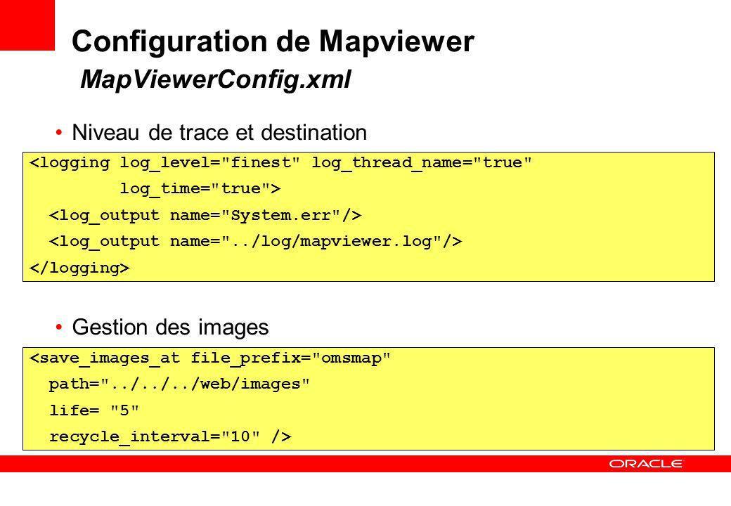 Configuration de Mapviewer MapViewerConfig.xml