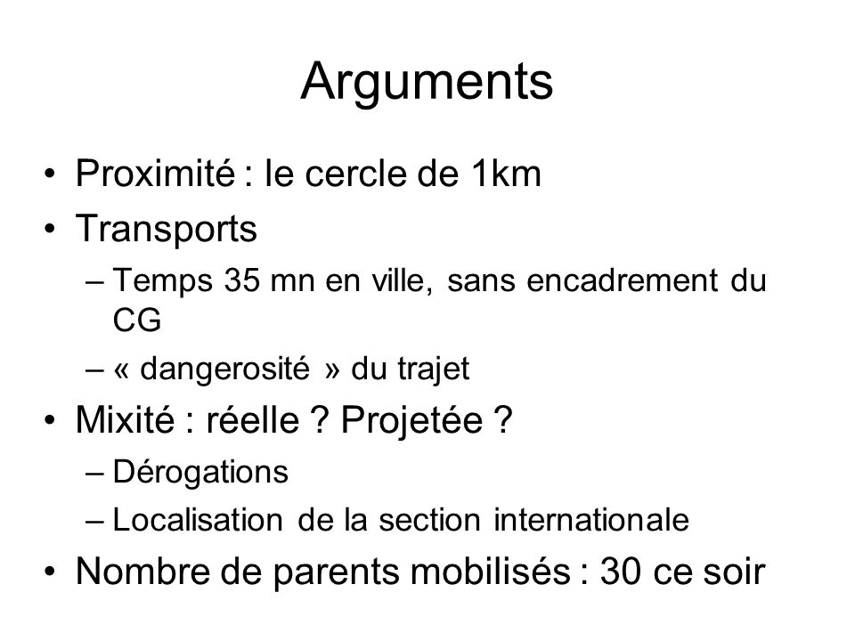Arguments Proximité : le cercle de 1km Transports