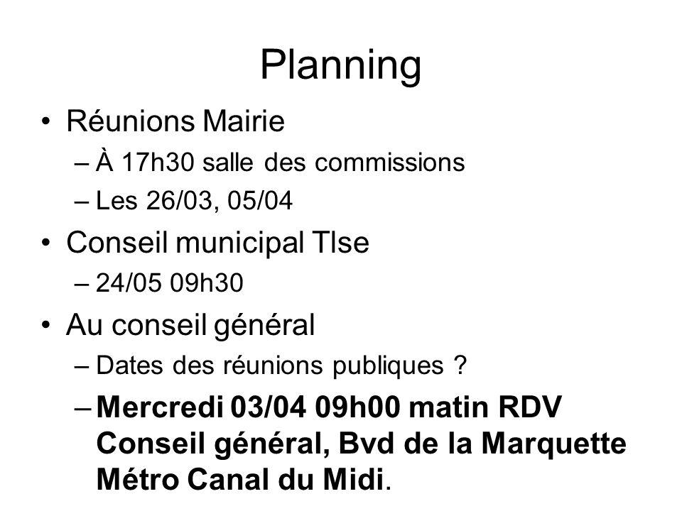 Planning Réunions Mairie Conseil municipal Tlse Au conseil général