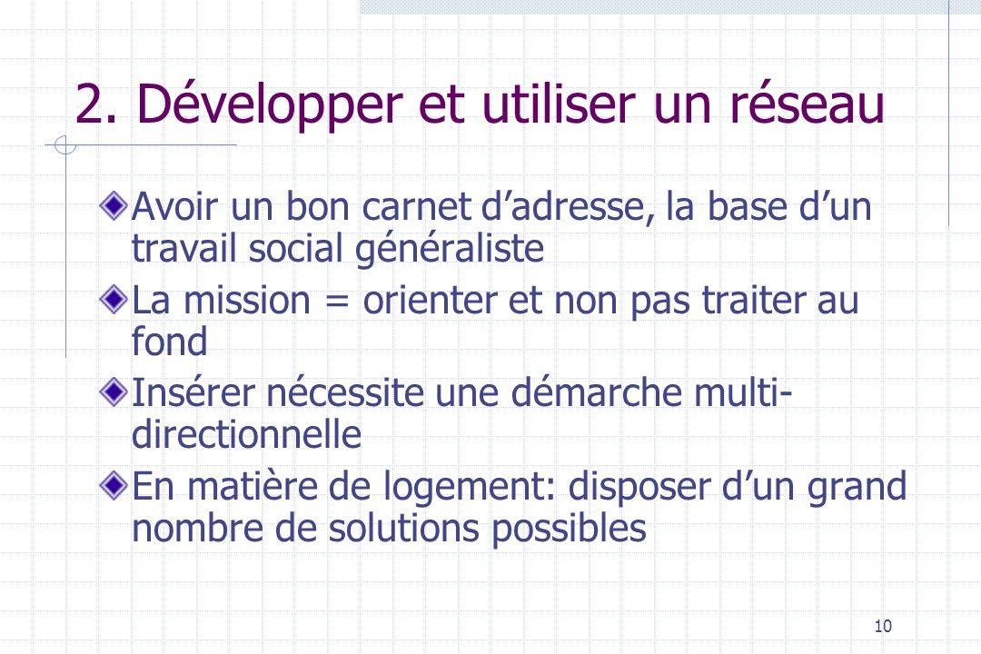 2. Développer et utiliser un réseau