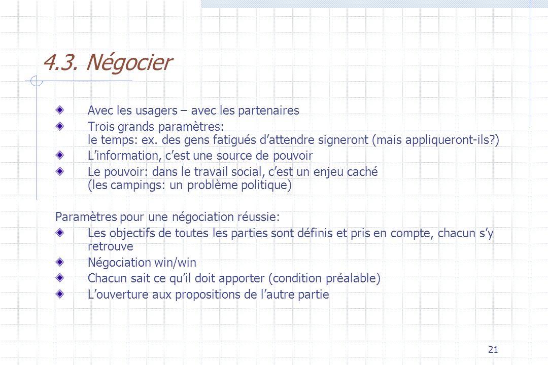 4.3. Négocier Avec les usagers – avec les partenaires