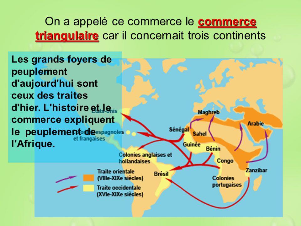 On a appelé ce commerce le commerce triangulaire car il concernait trois continents