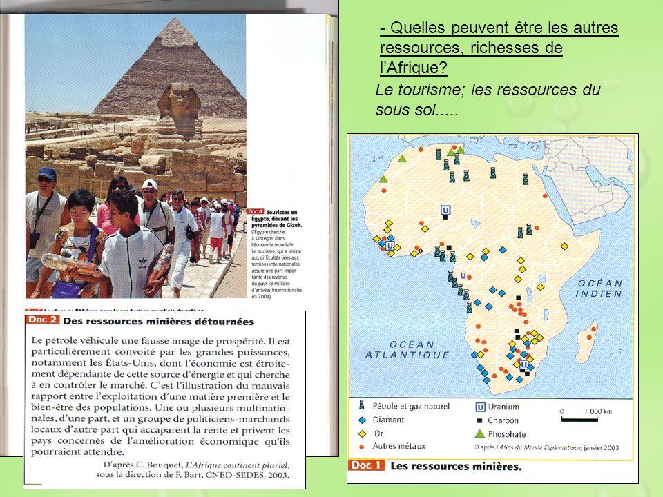 - Quelles peuvent être les autres ressources, richesses de l'Afrique