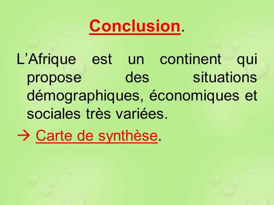 Conclusion. L'Afrique est un continent qui propose des situations démographiques, économiques et sociales très variées.