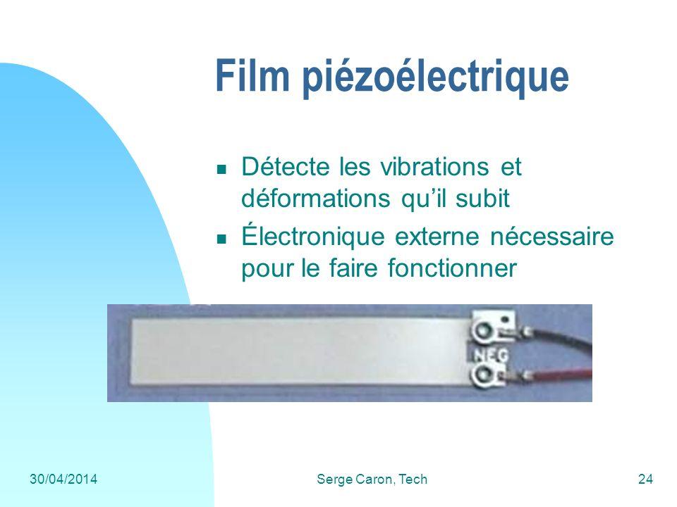 Film piézoélectrique Détecte les vibrations et déformations qu'il subit. Électronique externe nécessaire pour le faire fonctionner.
