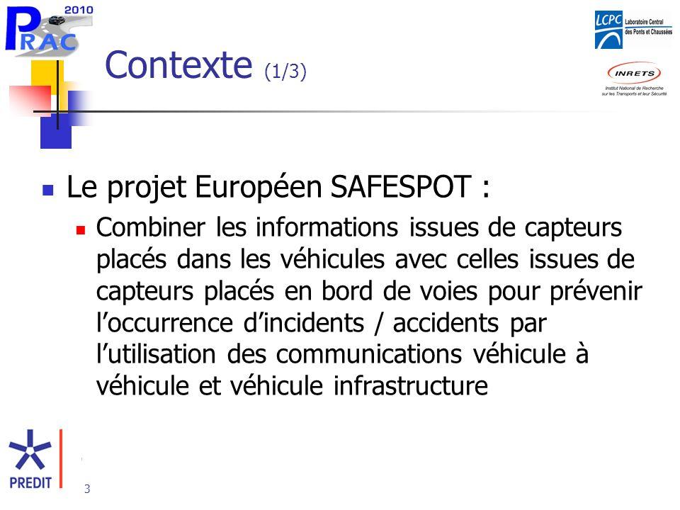 Contexte (1/3) Le projet Européen SAFESPOT :