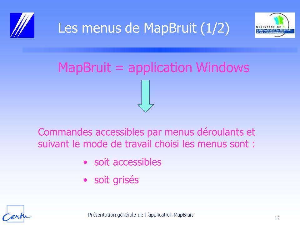 Les menus de MapBruit (1/2)