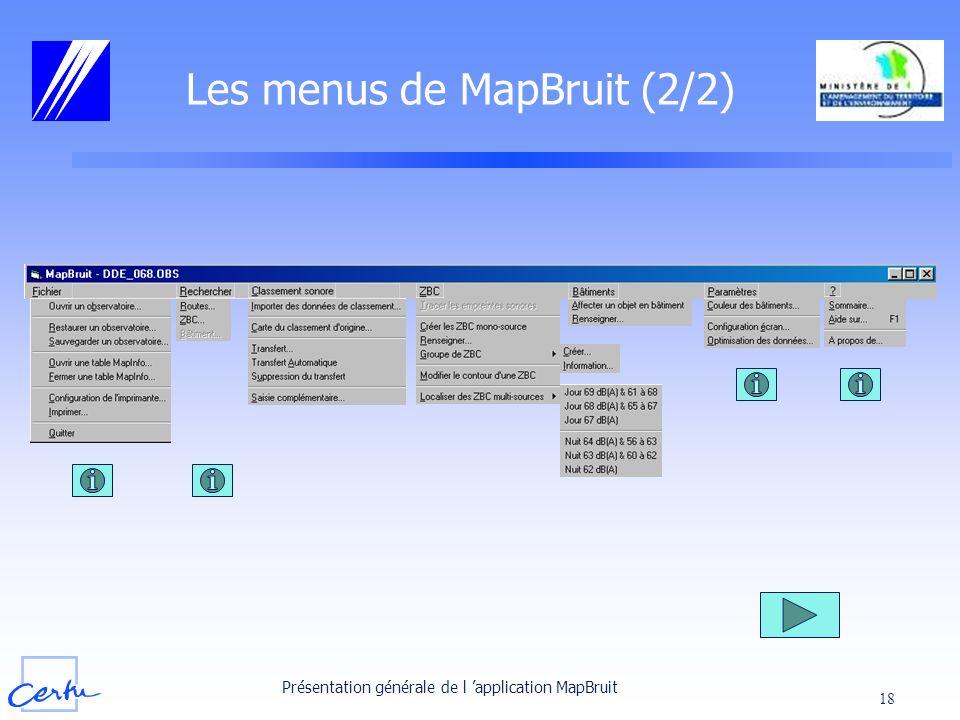Les menus de MapBruit (2/2)