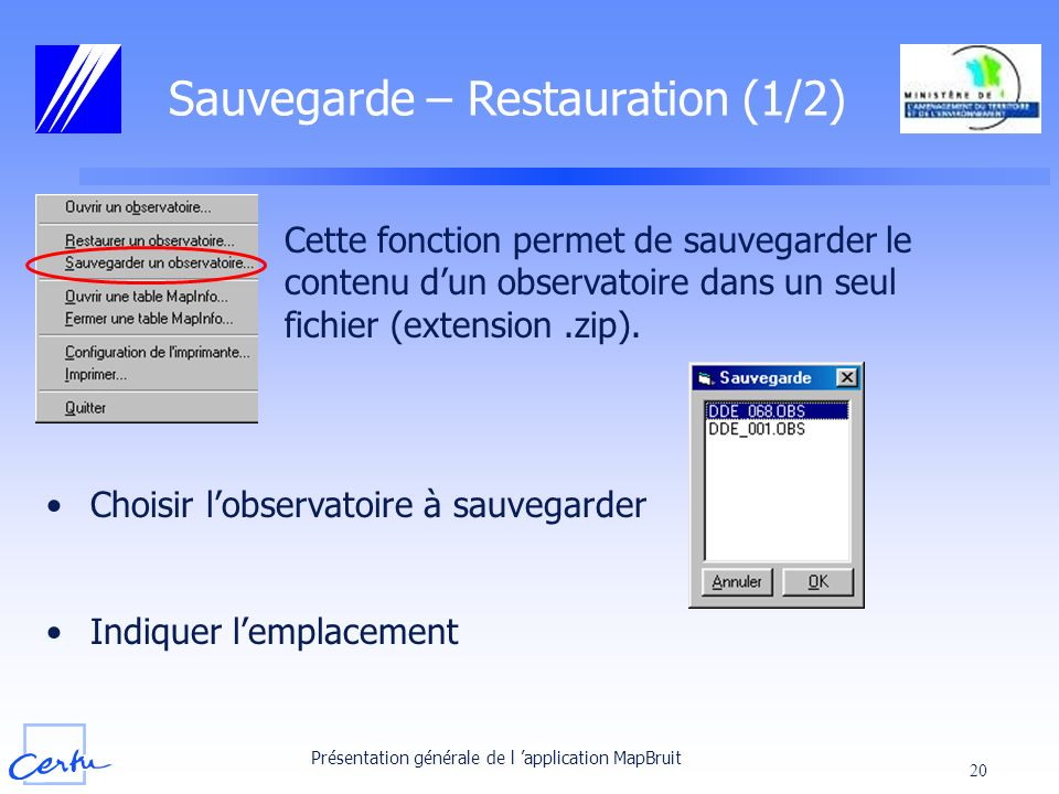 Sauvegarde – Restauration (1/2)