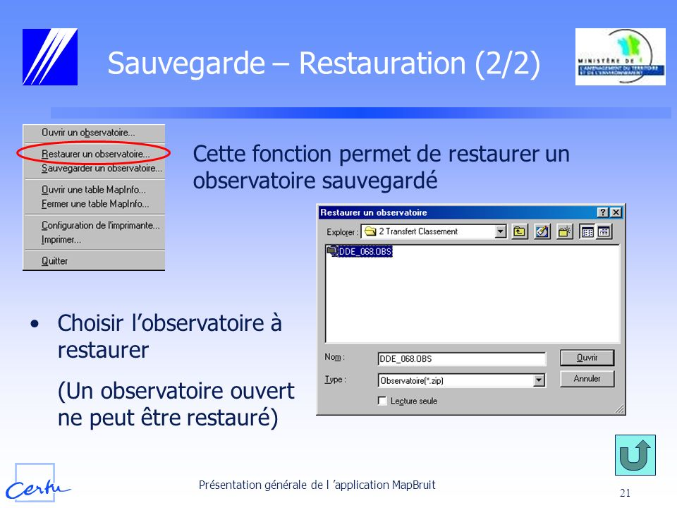 Sauvegarde – Restauration (2/2)