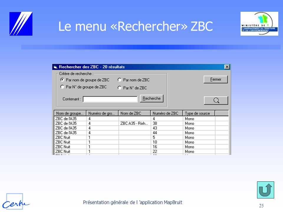 Le menu «Rechercher» ZBC